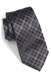 Men's Bugatchi Plaid Silk Tie Black