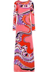 Emilio Pucci Cutout Printed Silk Jersey Gown Red