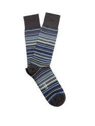 Paul Smith Striped Cotton Blend Socks. Blue Multi