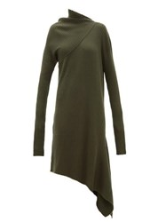 Marques Almeida Marques'almeida Asymmetric Ribbed Wool Dress Khaki