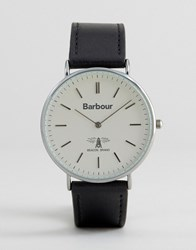 Barbour Hartley Leather Watch In Black Black