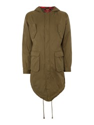 Merc Men's Tobias Casual Full Zip Parka Coat Khaki