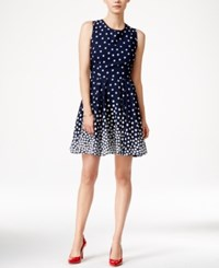 Maison Jules Polka Dot Fit And Flare Dress Only At Macy's Blu Notte Combo