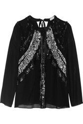 Altuzarra Madge Sequin Embellished Silk Chiffon Blouse Black