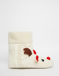 Daisy Street Rudie Christmas Slipper Boots Beige