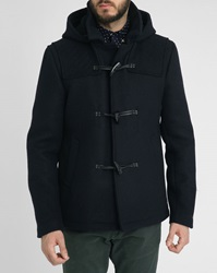 Scotch And Soda Navy Wool Duffle Coat