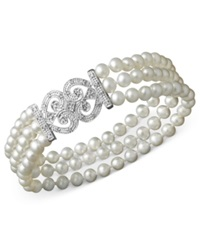 Macy's Sterling Silver Bracelet Cultured Freshwater Pearl And Diamond 1 6 Ct. T.W. Bracelet