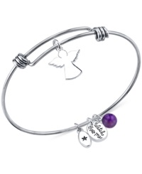 Unwritten 'Watch Over Me' Angel Charm And Amethyst 8Mm Bangle Bracelet In Stainless Steel
