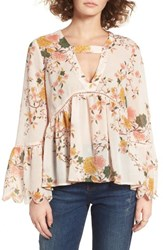Sun And Shadow Women's Floral Print Bell Sleeve Blouse