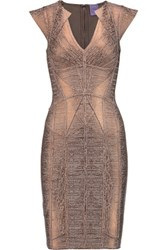 Herve Leger Metallic Coated Bandage Mini Dress Bronze