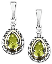 Macy's 14K Gold And Sterling Silver Earrings Peridot 7 8 Ct. T.W. And Diamond Accent Teardrop Earrings