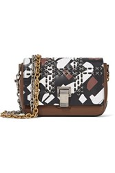 Proenza Schouler Extra Small Courier Woven Printed Leather Shoulder Bag Black