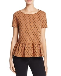 French Connection Rossine Printed Peplum Tee Terra Tan Black