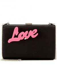 Stella Mccartney Embellished Satin Clutch Black
