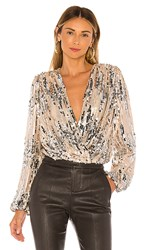 Astr The Label Primadonna Top In Metallic Silver Metallic Neutral. Champagne Sequin