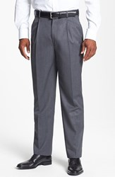 Men's Big And Tall Jb Britches Double Pleated Super 100S Worsted Wool Trousers Grey
