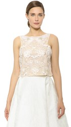 Monique Lhuillier Sleeveless Crop Top Ivory