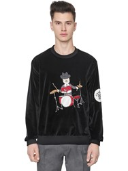 Dolce And Gabbana Drummer Patch Cotton Velvet Sweatshirt