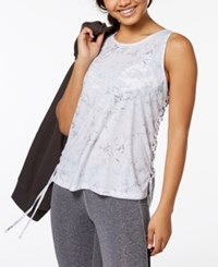 Material Girl Active Juniors' Lace Up Tank Top Created For Macy's Multi Marble