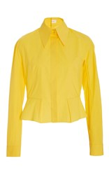 Delpozo Peplum Button Down Shirt Yellow