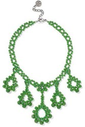 Ben Amun Beaded Silver Tone Necklace Green