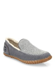 Sorel Dude Leather Suede Loafers City Grey