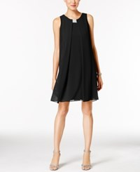 Msk Rhinestone Chiffon Flyaway Dress Black