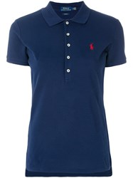 Polo Ralph Lauren Skinny Stretch Shirt Cotton Spandex Elastane Blue