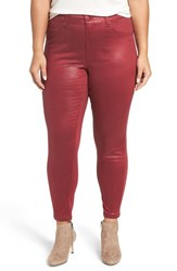 Melissa Mccarthy Seven7 Plus Size Women's High Rise Coated Pencil Jeans Pomegranate