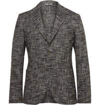 Etro Grey Slim Fit Unstructured Textured Cotton Blend Blazer Gray