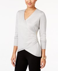 Thalia Sodi Faux Wrap Sweater Only At Macy's Sweater Silver