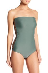 Mikoh Santorini Multi String Strapless One Piece Swimsuit Green