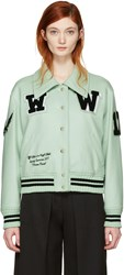 Off White Green Varsity Bomber Jacket