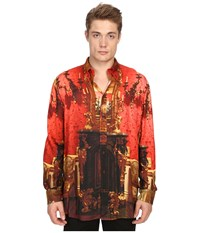 Vivienne Westwood Wallace Print Viscose Omar Shirt Red Wallace Men's Long Sleeve Button Up Orange