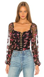 For Love And Lemons Blondie Embroidered Bodysuit In Black. Rose