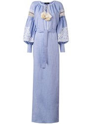 Wandering Embroidered Bell Sleeve Kaftan Women Cotton Linen Flax 42 Blue
