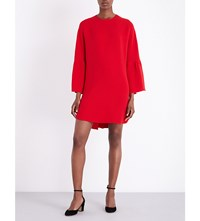 Valentino Bell Sleeve Silk Crepe Mini Dress Red