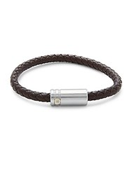 Saks Fifth Avenue 14K Gold Stainless Steel And Leather Bracelet Brown