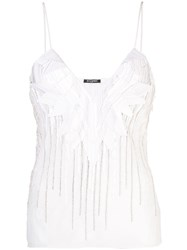 Balmain Crystal Embellished Tank Top White