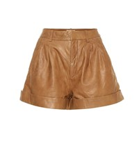Etoile Isabel Marant Abot High Rise Leather Shorts Brown