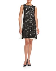 Adrianna Papell Lace Accented Trapeze Dress Black Ivory