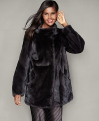 The Fur Vault Mink Fur Jacket Purple Grey