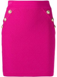 Balmain Diamond Quilted Mini Skirt Pink