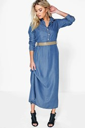 Boohoo Long Sleeve Button Through Denim Maxi Dress Mid Blue