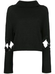 Taylor Cut Out Sleeve Jumper Black