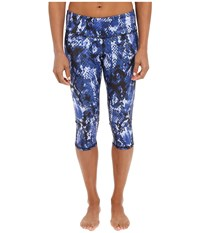 Alo Yoga Airbrushed Capri Deep Electric Blue Python Women's Workout