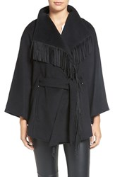 Ellen Tracy Women's Faux Suede Fringe Belted Wool Blend Cape