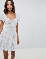 Abercrombie And Fitch Tea Dress With Wrap Detail In Ditsy Spot White Polka Dot Multi
