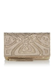Biba Wow Foldover Zip Leather Clutch Gold