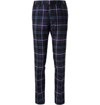 Versace Slim Fit Checked Wool Trousers Navy